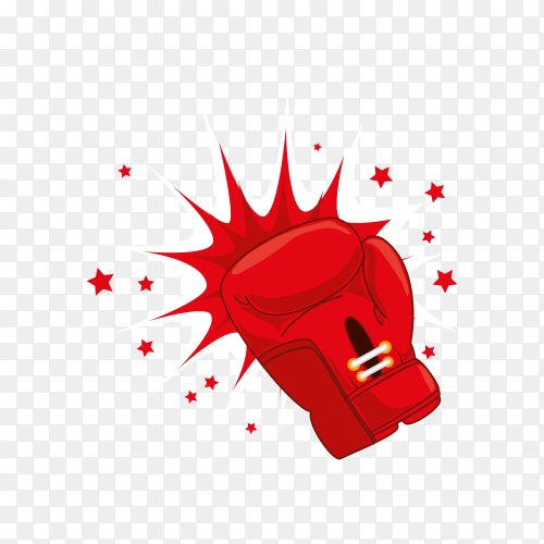 Red boxing gloves on transparent background PNG