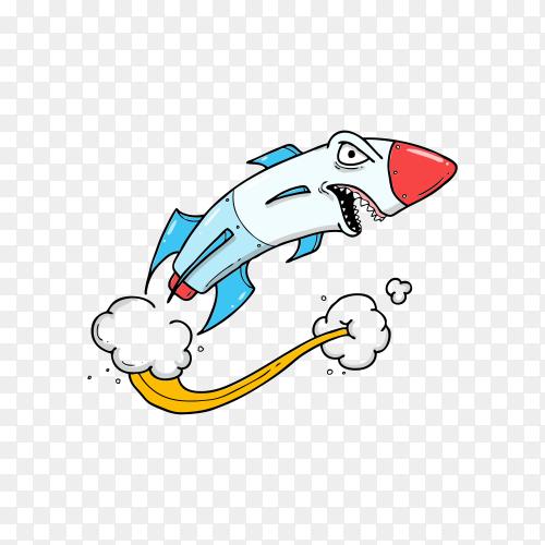 Rocket attack cartoon on transparent background PNG