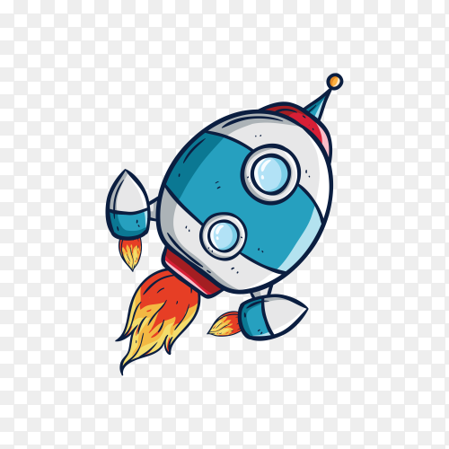 Rocket flying in outer space on transparent background PNG