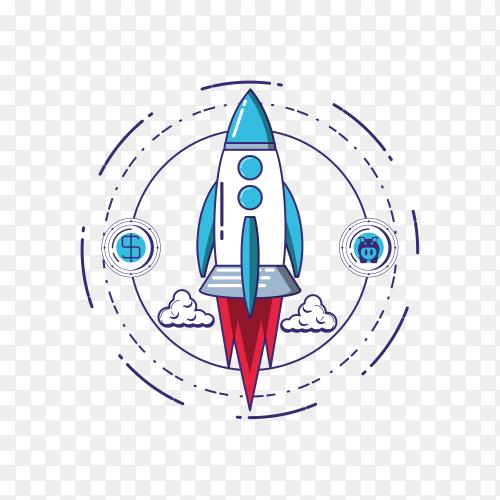 Rocket illustration on transparent background PG