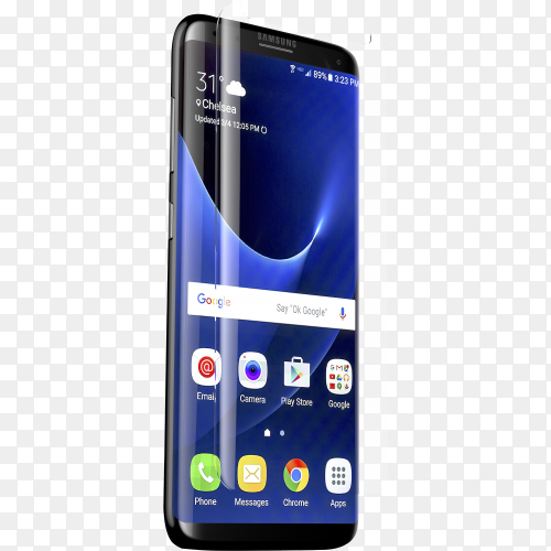 Samsung Galaxy S8 Plus smartphone on transparent background PNG