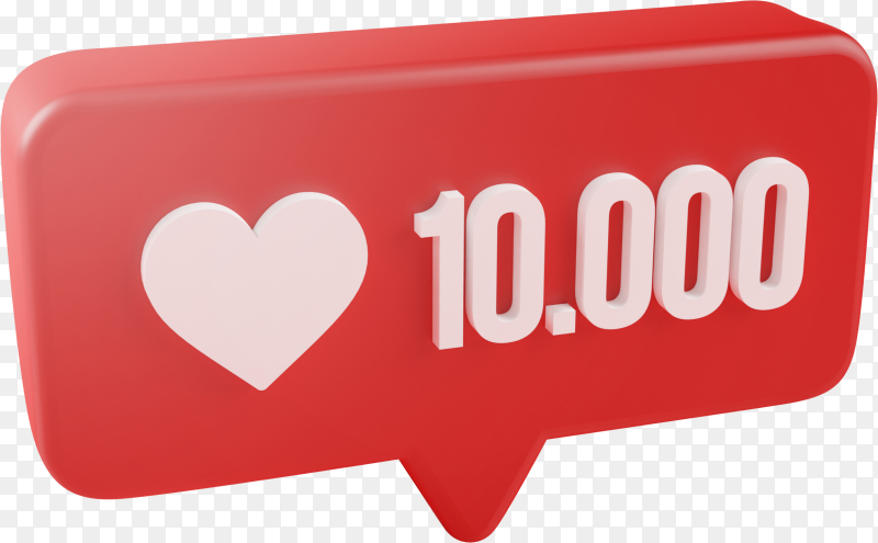 Ten thousand love notification icon 3d rendering on transparent background PNG