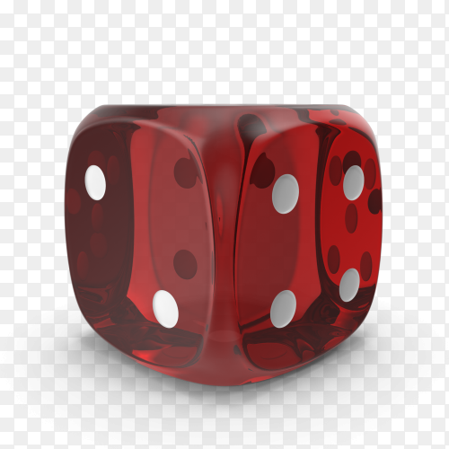 The dice are red with white dots isolated on transparent background PNG