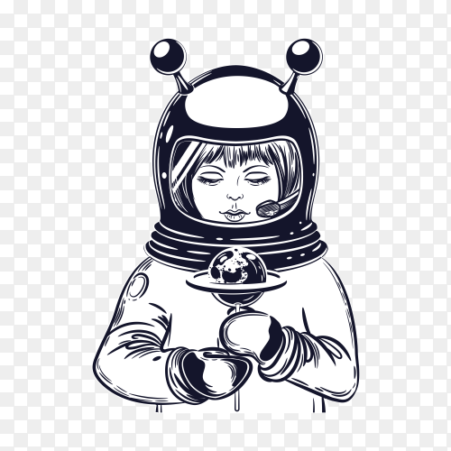 The girl astronaut holds a lollipop on transparent background PNG