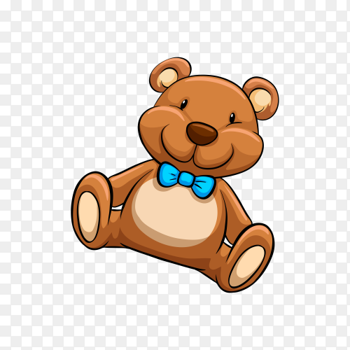 Toy Teddy bear in brown color on transparent background PNG