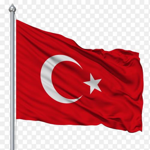 Turkey flag on transparent background PNG