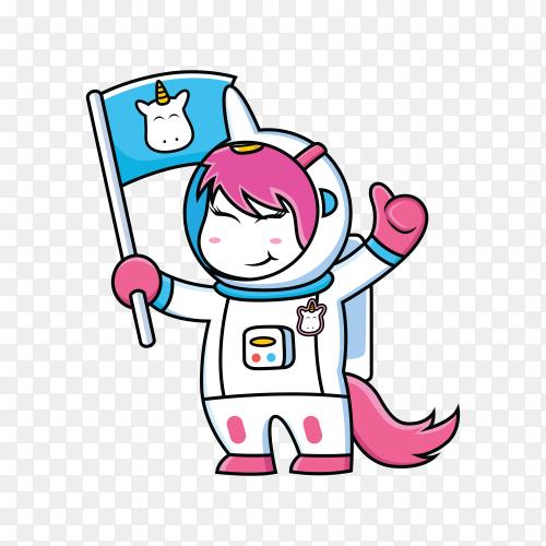 Unicorn astronaut comic strip on transparent background PNG