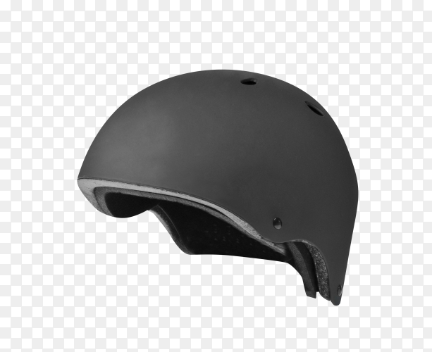Black protective helmet for skiing, snowboarding and other winter sports front on transparent PNG