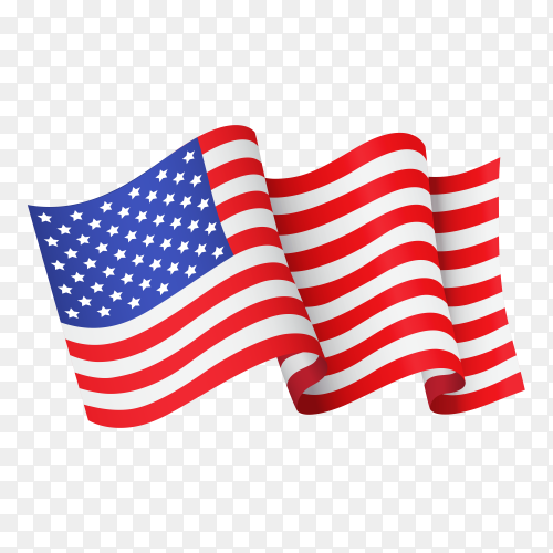 Waving American flag on transparent background PNG