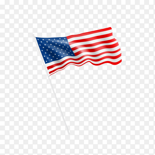 Waving flag of the United States of America on transparent background PNG