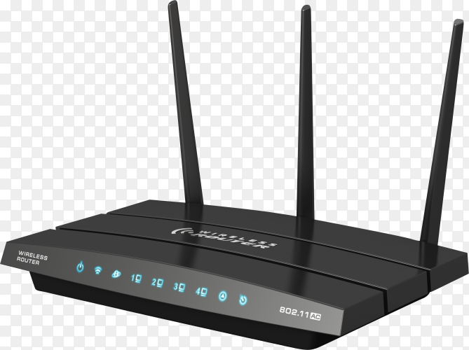 WiFi router isolated on transparent background PNG