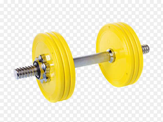 Yellow Dumbbells isolated on transparent background PNG