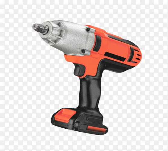 Black and orange drill or screwdriver on transparent background PNG