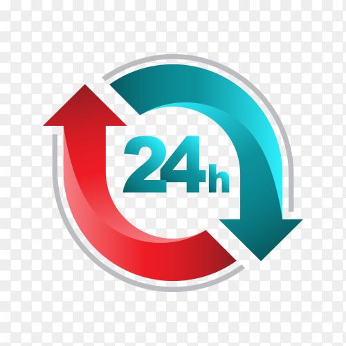 24 hours open customer service design on transparent background PNG