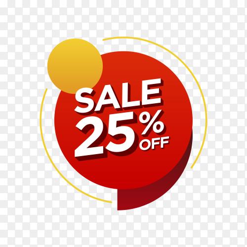 25 percent off sale badge on transparent background PNG
