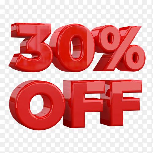30 Percent off promotional sign on transparent background PNG