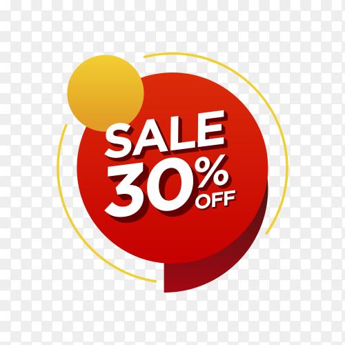 30 percent off sale badge on transparent background PNG
