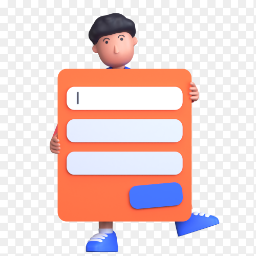 3d sign-in form with boy stand with holding sign-in form on transparent background PNG