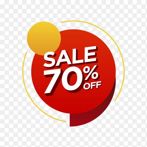 70 percent off sale badge on transparent background PNG