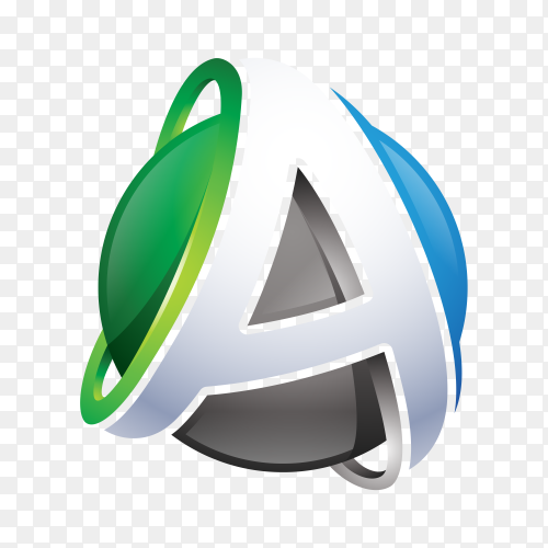 Abstract Letter A Logo on transparent background PNG