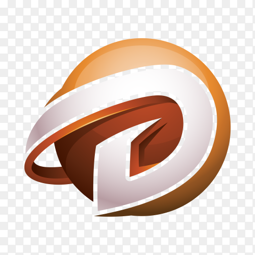 Abstract Letter D 3D Logo on transparent background PNG
