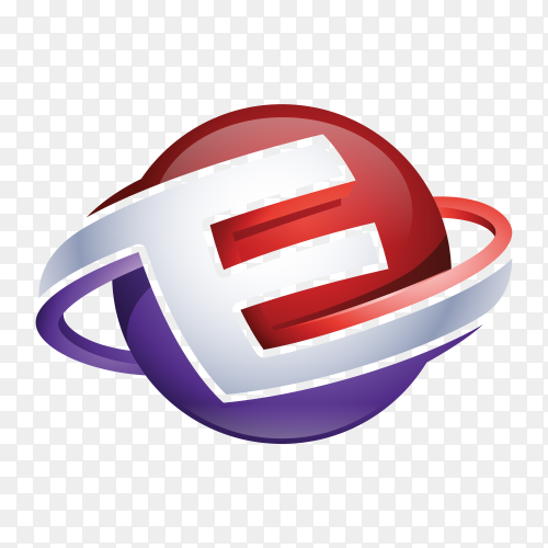 Abstract Letter E 3D Logo on transparent background PNG