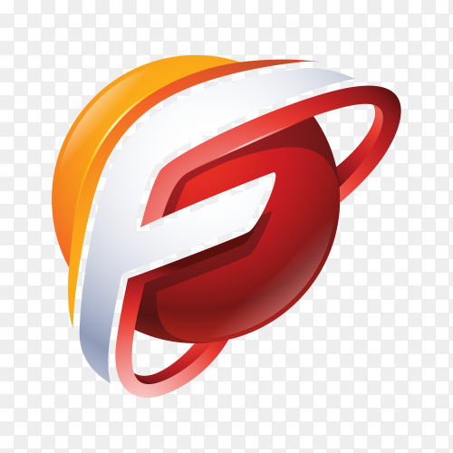 Abstract Letter F Logo on transparent PNG