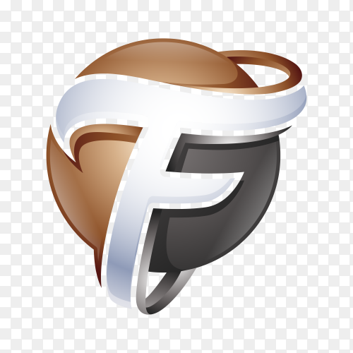 Abstract Letter F Logo template on transparent background PNG