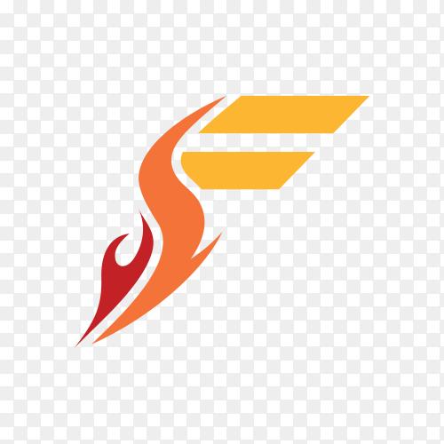 Abstract Letter F logo design on transparent background PNG