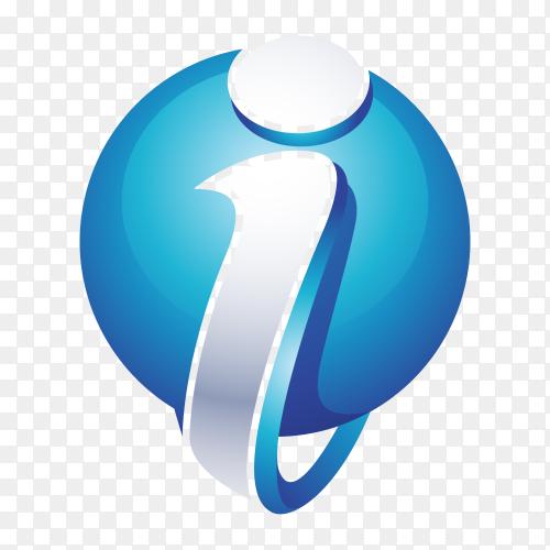 Abstract Letter I Logo – 3D Sphere Logo on transparent background PNG