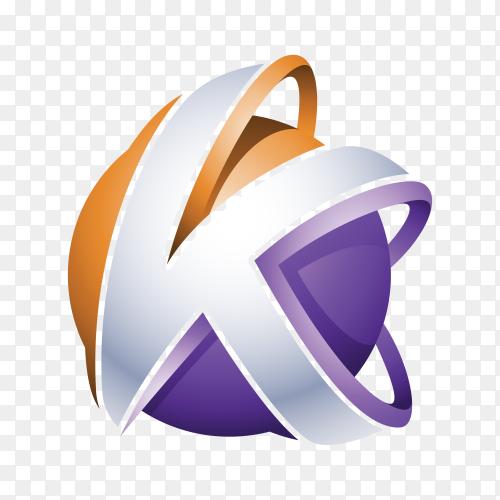 Abstract Letter K Logo design on transparent background PG