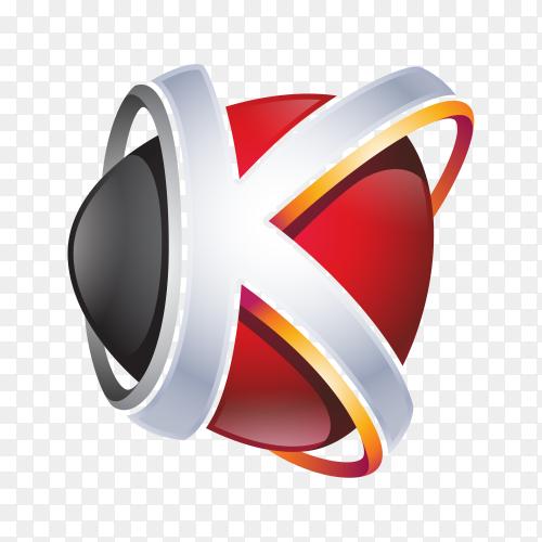 Abstract Letter K Logo illustration on transparent background PNG
