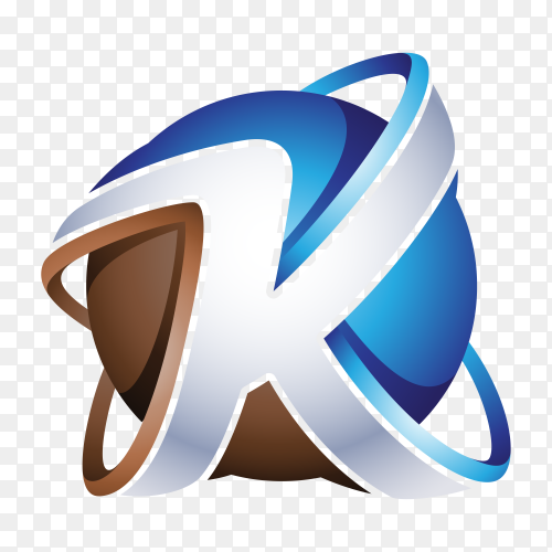 Abstract Letter K Logo on transparent PNG