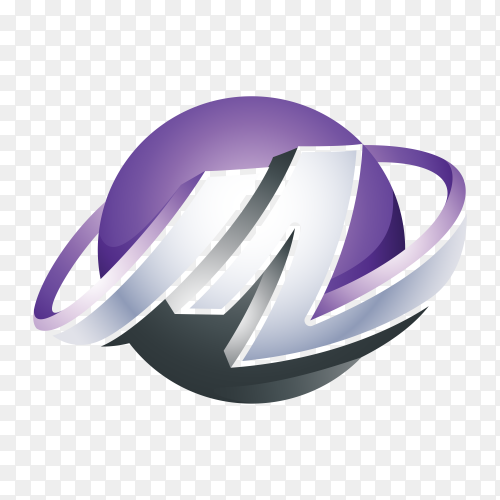 Abstract Letter M 3D Logo isolated on transparent background PNG