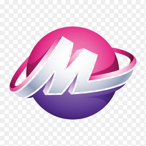 Abstract Letter M 3D Logo on transparent background PNG