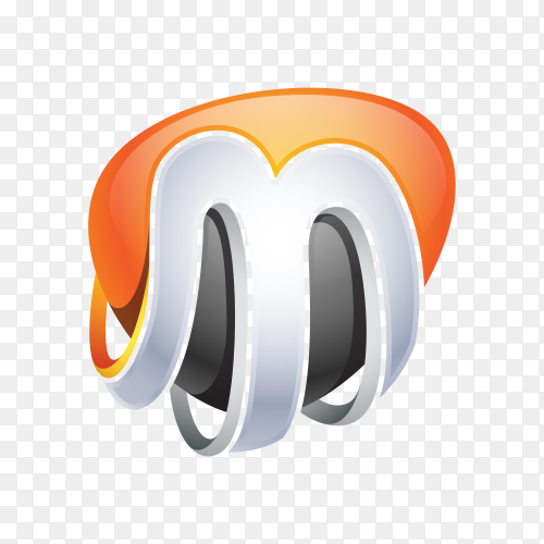 Abstract Letter M Logo on transparent background PNG