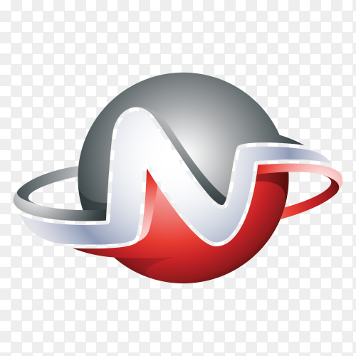 Abstract Letter N Logo – 3D Sphere Logo premium vector PNG