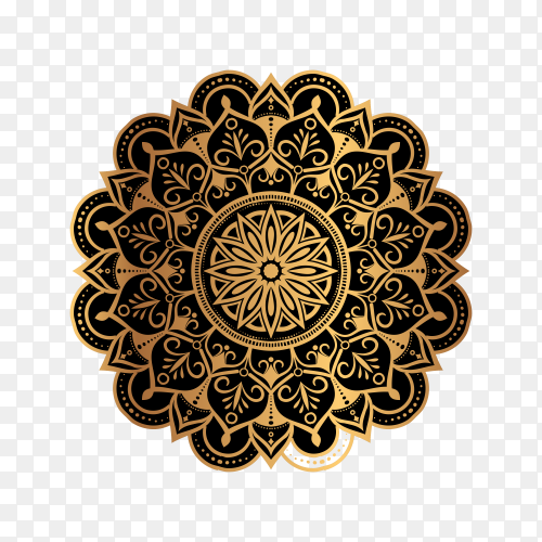 Abstract background with a luxury gold mandala design on transparent background PNG