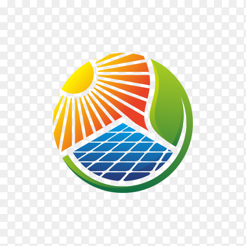 Abstract modern solar energy logo design isolated on transparent background PNG