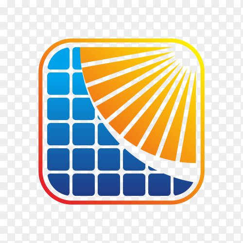 Abstract solar energy logo design illustration on transparent background PNG