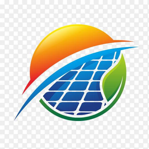 Abstract solar energy logo design template on transparent background PNG