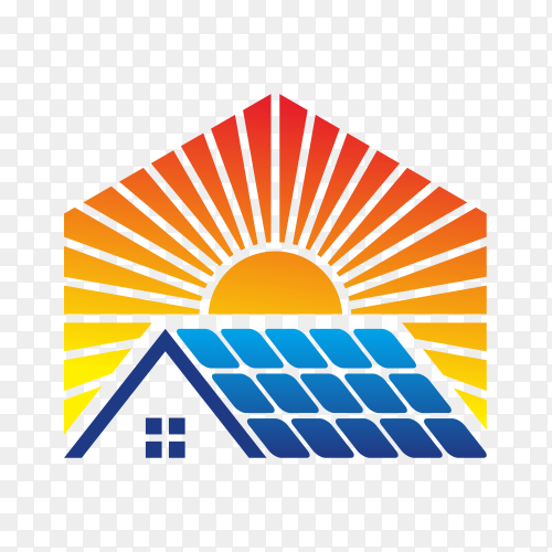 Abstract solar energy logo template on transparent background PNG