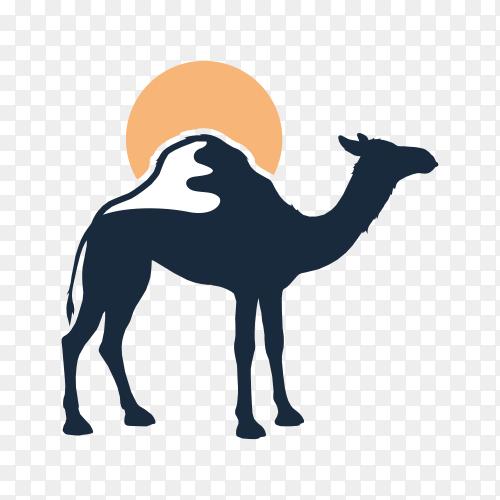 Arabic camel logo design on transparent background PNG