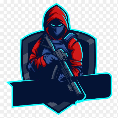 Army squad mascot esport logo design on transparent background PNG
