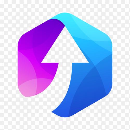 Arrow negative space logo on transparent background PNG