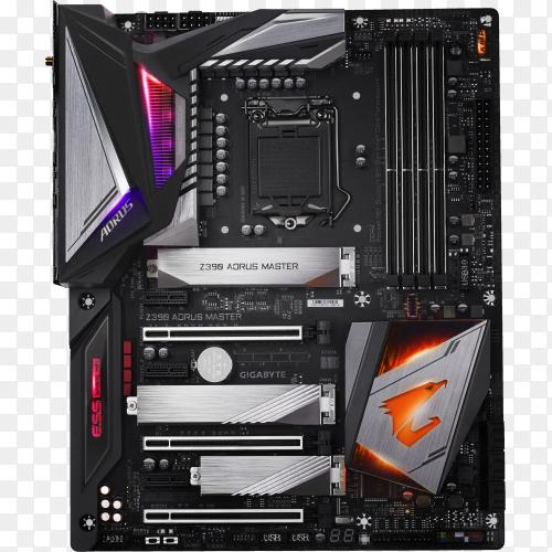Black Asus motherboard on transparent background PNG