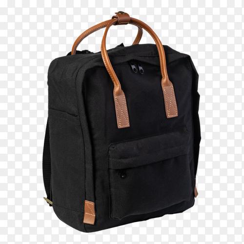 Black backpack on transparent background PNG