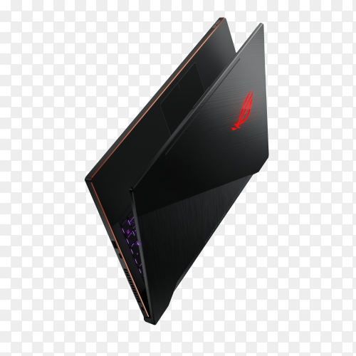 Black laptop isolated on transparent background PNG