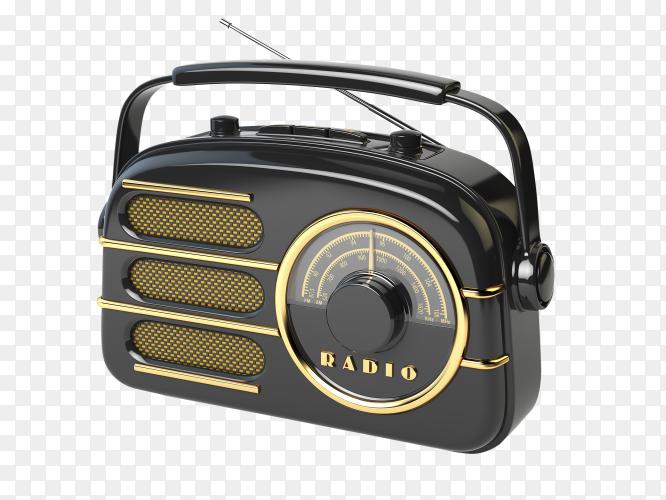 Black retro radio isolated on transparent background PNG