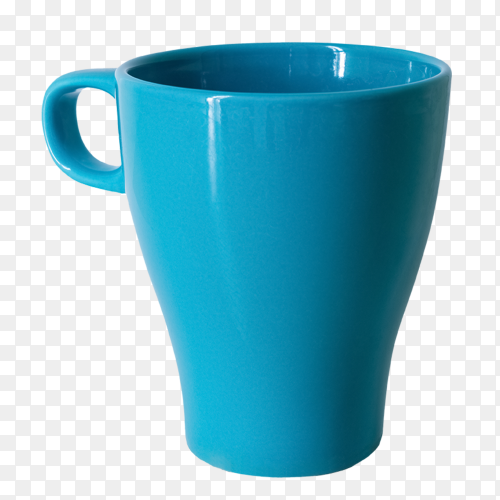 Blue cup isolated on transparent background PNG